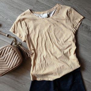 H&M Basics Striped Mustard Tee